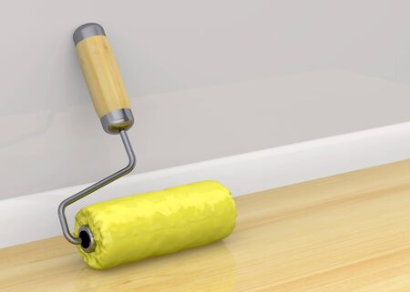 home deco: Yellow Roller in the house Stock Photo