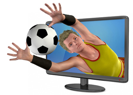 lea: Television 3D and Soccer Player Stock Photo