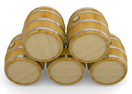 wine cellar: Wood Barrel on whte background