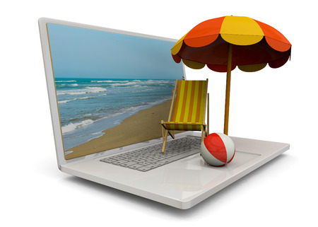 Beach chair, umbrella, and ball on the computer