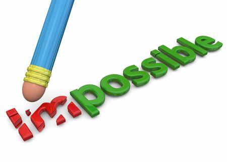 possible: 3D Word Impossible becomes possible Stock Photo