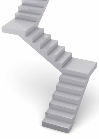 ambitions: White Stairs on white background Stock Photo