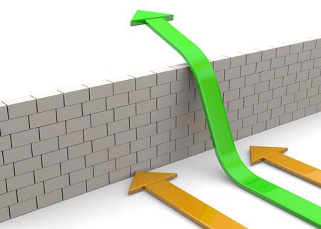 overcome: Arrows overcome a white wall