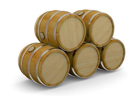 Wood Barrel on whte background