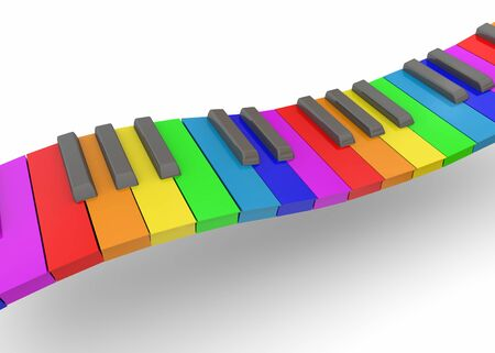 tonality: Colorful Piano on white background
