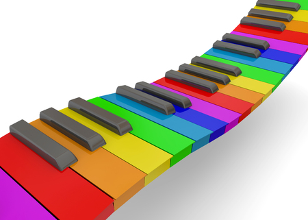 ballad: Colorful Piano on white background