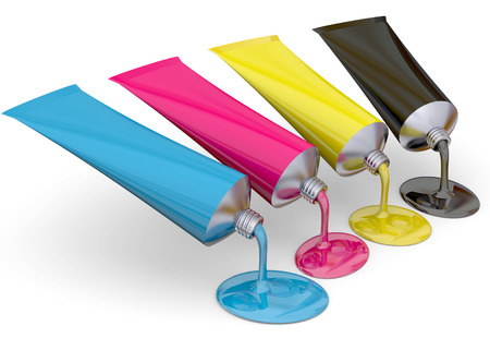 digital printing: Tubes of CMYK ink on white background