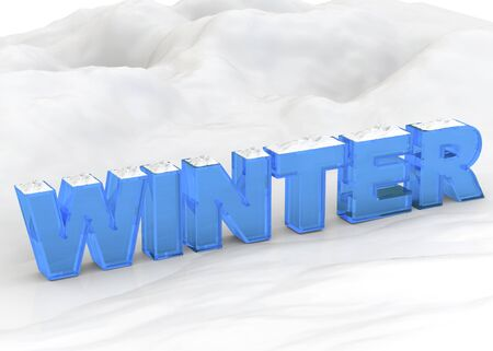 blu: Blu winter word on snow Stock Photo