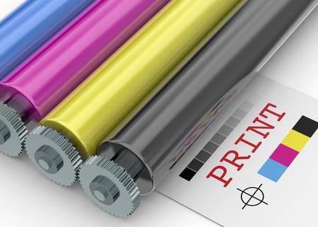흰색 배경에 인쇄 기계