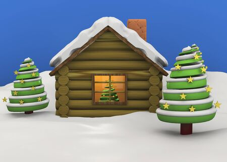 importantly: Christmas House with tree and snow Stock Photo