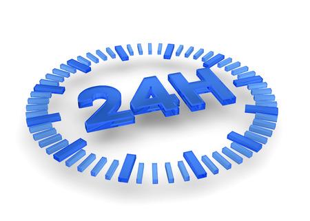 24: 24 hours icon on white background Stock Photo