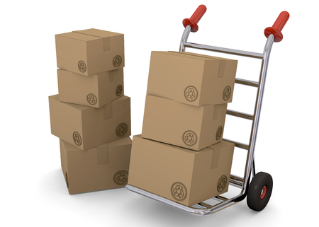 hand truck: Hand truck with cardboard boxes Stock Photo