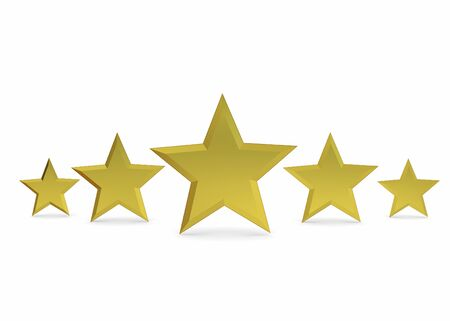 judgments: Five Golden Star on white background Stock Photo