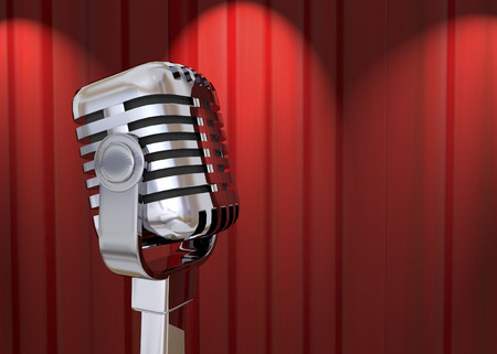 talk show: Steel Microphone and red Curtain