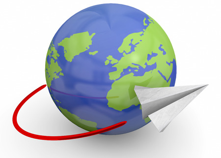 paper flying: Paper plane flying around the world Stock Photo