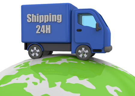 delivering: Truck drive around the world to delivering