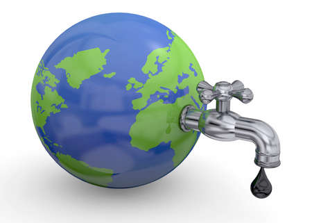 goes: Oil goes out from the faucet of the world Stock Photo