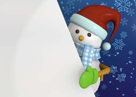 blu: Snowman on blu sky background