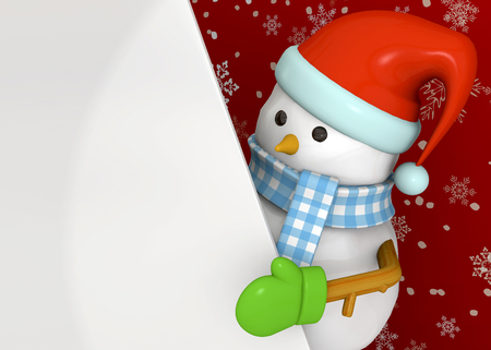 red sky: Snowman on red sky background