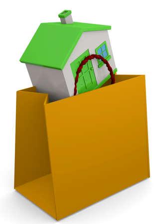 shopper: House in the shopper 3D Stock Photo