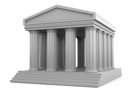 Ancient Temple on white background