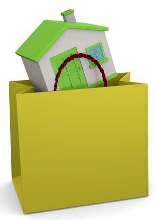 shopper: House in the shopper 3D Stock Photo