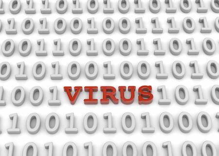 Virus inside binary code - 3 d