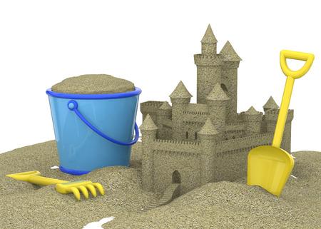sandcastle: The Sandcastle on the Beach Stock Photo