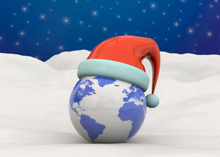 dec  25: World with santa hat on the snow and blue sky