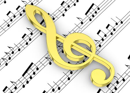 intonation: Treble Clef and note on Pentagram Stock Photo