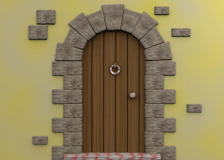 Ancient Door - 3D Stock Photo