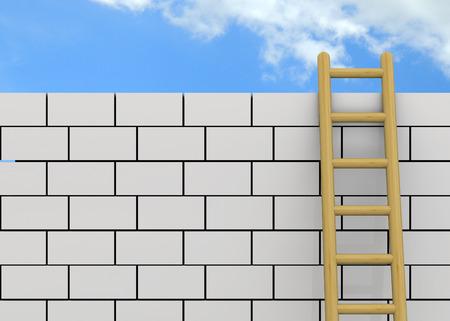 overcome: Freedom Concept - overcome the wall Stock Photo