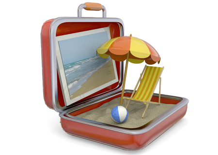 to sunbathe: Summer in a Suitcase Concept Stock Photo