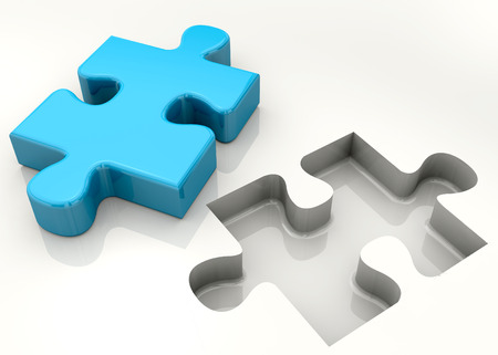 Puzzle piece on white background Imagens