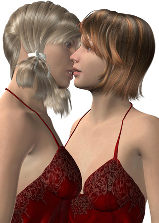 Two girls kiss and love Imagens