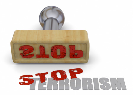 Stamp Stop Terrorism on white background