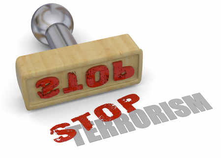 injustice: Stamp Stop Terrorism on white background
