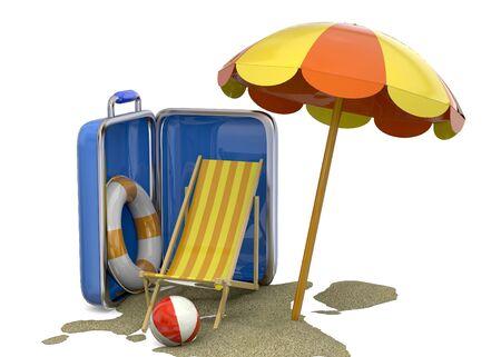 life buoy: Beach chair, umbrella, life buoy, suitcase and sand
