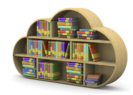 Cloud library and book on white background Imagens - 41745271