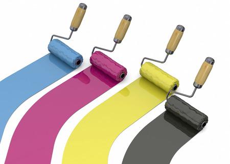 magenta: Cyan, magenta, yellow and black roller Stock Photo