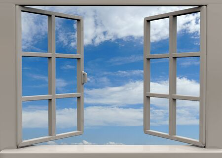 window open: open window on white background Stock Photo