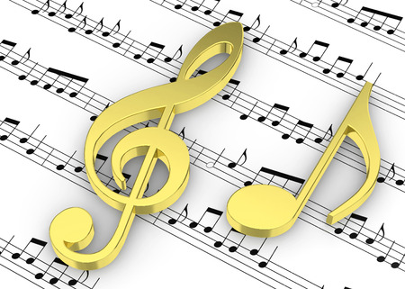 Treble Clef and note on Pentagram Stock Photo
