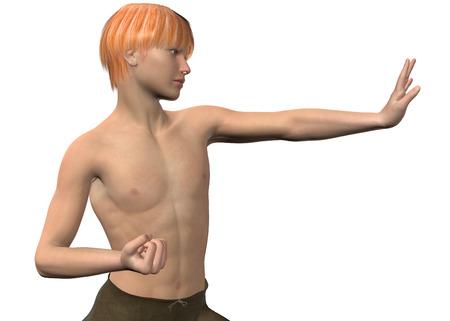 kung fu: Boy and Kung Fu on white background