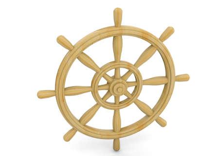 piloting: Rudder of sailing ship on white background