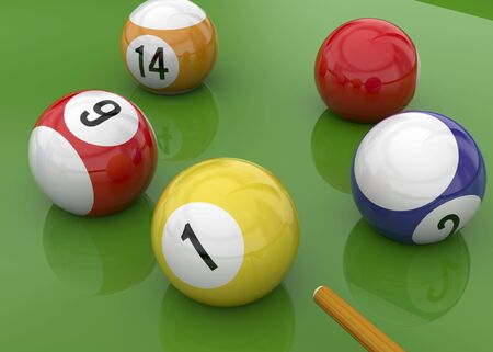 cue sticks: Ball of Billiards on green Table Stock Photo