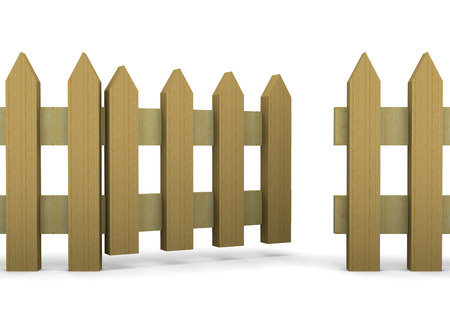defend: Wood Fence on white Background