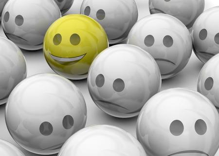 gaiety: Happy face among sad face