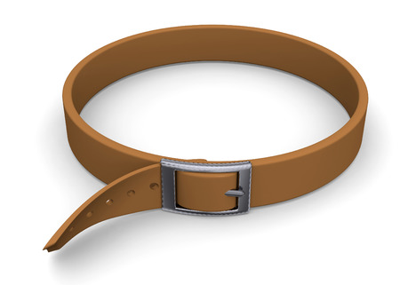ones: Tighten ones Belt on white background Stock Photo