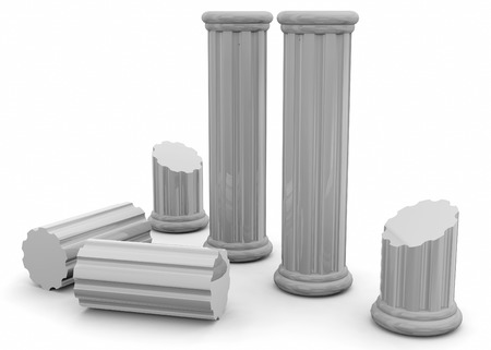 Ancient Columns on white background Imagens