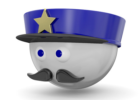 Police Character on white background Imagens